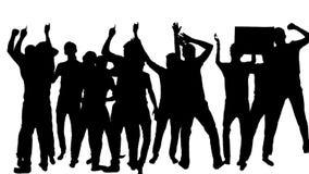 Silhouet van Dansende Menigtemensen stock footage