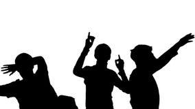 Silhouet van Dansende Menigtemensen stock video