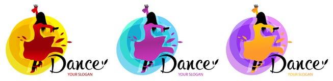 Silhouet van dansende vrouw De ontwerpenmalplaatje van het dansembleem Elementen van dans multi gekleurde pictogrammen Eenvoudig  royalty-vrije illustratie