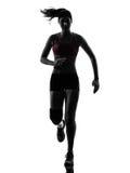 Silhouet van de de agent het lopende marathon van de vrouw Royalty-vrije Stock Foto's