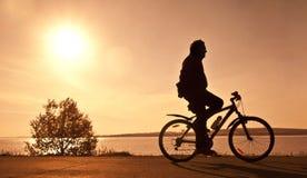 Silhouet van de fietser Stock Foto