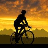 Silhouet van de fietser Royalty-vrije Stock Foto's