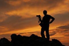 Silhouet van de fotograaf Stock Afbeelding