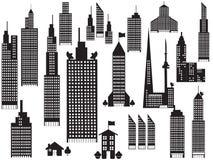 Silhouet van de gebouwen van de perspectiefstad stock illustratie