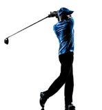 Silhouet van de het golfschommeling van de mensengolfspeler het golfing Royalty-vrije Stock Foto's