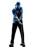 Silhouet van de het golfschommeling van de mensengolfspeler het golfing Royalty-vrije Stock Afbeeldingen