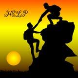 Silhouet van de hulp van de twee mensenmetafoor, steun, vriendschap, o royalty-vrije illustratie