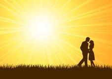 Silhouet van de jonge mens en vrouw Royalty-vrije Stock Foto