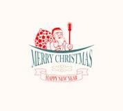 Silhouet van de Kerstman Stock Afbeeldingen