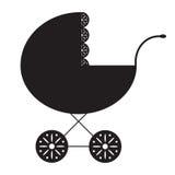 Silhouet van de kinderwagen op een witte achtergrond Kinderwagenpictogram of teken Royalty-vrije Stock Foto's