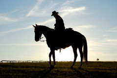 Silhouet van de mens en paard Royalty-vrije Stock Afbeelding
