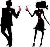 Silhouet van de mens en vrouw met parfums Stock Fotografie