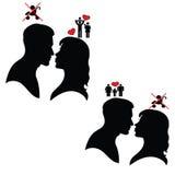 Silhouet van de Mens en Vrouw Psychologie van relaties Royalty-vrije Stock Afbeeldingen