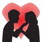 Silhouet van de Mens en Vrouwen in Liefde Vector illustratie stock foto's
