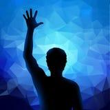 Silhouet van de mens met opgeheven hand Stock Fotografie