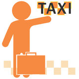 Silhouet van de mens met opgeheven hand die een taxi halen Stock Afbeelding