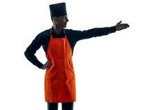 Silhouet van de mensen het kokende chef-kok Stock Foto's