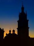Silhouet van de nachtstad Lviv Royalty-vrije Stock Foto