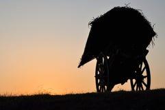 Silhouet van de oude kar van het vervoerpaard Royalty-vrije Stock Afbeelding