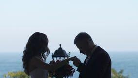 Silhouet van de paarbruidegom die de hand van de Bruid kussen overal kijkt zij doesn ` t stock footage