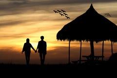 Silhouet van de paarmens en vrouw Stock Afbeeldingen