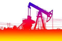 Silhouet van de pomp van de kleurenolie Stock Afbeeldingen
