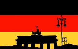 Silhouet van de Poort van Brandenburg Stock Foto's