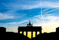 Silhouet van de Poort van Brandenburg in Berlijn, Duitsland Royalty-vrije Stock Afbeelding