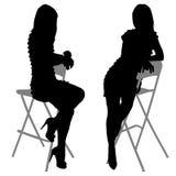 Silhouet van de slanke vrouw met mooi Stock Foto