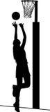 Silhouet van de speler van het meisjesnetball het schieten voor doel stock illustratie