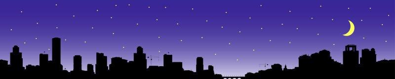 Silhouet van de stad bij nacht Stock Afbeeldingen