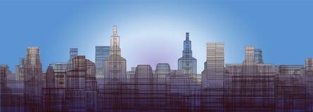 Silhouet van de stad binnen tegen de hemel stock illustratie