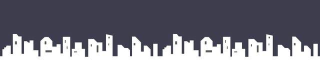 Silhouet van de stad in een vlakke stijl Modern stedelijk landschap Vector graphhics Stadswolkenkrabbers die bureau bouwen stock illustratie