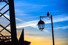 Silhouet van de straatlantaarn Royalty-vrije Stock Foto's