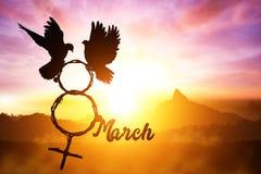 Silhouet van de tak die van de duifholding in 8 Maart-tekst en van het Venussymbool vorm op zonsonderganghemel vliegen royalty-vrije stock foto's