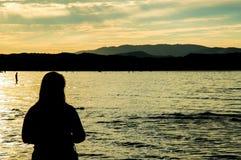 Silhouet 001 van de vrouw Stock Foto