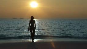 Silhouet van de vrouw die het overzees verlaten bij zonsondergang stock video