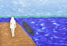 Silhouet van de vrouw tegen het meer Stock Afbeeldingen