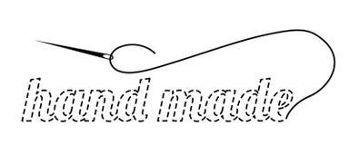 Silhouet van de woordenhand - die met onderbroken contour wordt gemaakt Vectorillustratie met borduurwerkdraad en naald stock illustratie