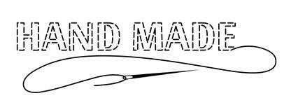 Silhouet van de woordenhand - die met onderbroken contour wordt gemaakt Vectorillustratie met borduurwerkdraad en naald vector illustratie