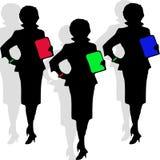 Silhouet van drie Secretaresses Stock Foto