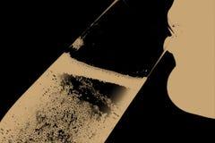 Silhouet van drinkende vrouw 3 Royalty-vrije Stock Foto's