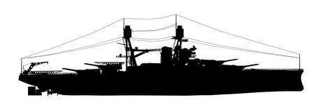 Silhouet van een Amerikaans slagschip van Wereldoorlog II Royalty-vrije Stock Fotografie