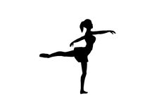 Silhouet van een balletdanser. Royalty-vrije Illustratie