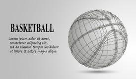 Silhouet van een basketbalbal De punten, de lijnen, de driehoeken, de tekst, de kleurengevolgen en de achtergrond op afzonderlijk Royalty-vrije Stock Afbeelding