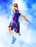 Silhouet van een basketbalbal De punten, de lijnen, de driehoeken, de tekst, de kleurengevolgen en de achtergrond op afzonderlijk royalty-vrije stock foto