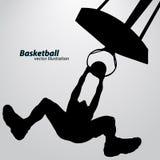 Silhouet van een basketbalspeler Stock Afbeelding