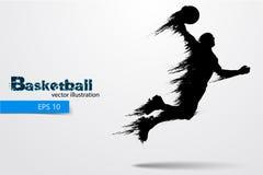 Silhouet van een basketbalspeler Vector illustratie royalty-vrije stock foto