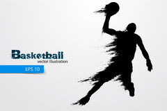Silhouet van een basketbalspeler Vector illustratie Stock Foto