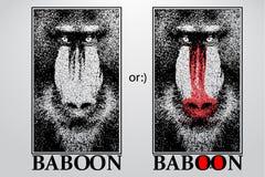 Silhouet van een baviaan van deeltjes stock illustratie